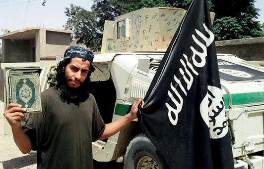 This undated image made available in the Islamic State's English-language magazine Dabiq, shows Belgian national Abdelhamid Abaaoud. (Militant Photo via AP)