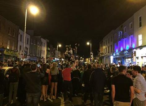 Wexford Street, Dublin, last night after Ireland's win over Bosnia secured qualification for Euro 2016