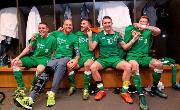 Republic of Ireland players, from left, James McCarthy, David Meyler, Shane Long, Robbie Keane and James McClean celebrate in the dressingroom after the game. UEFA EURO 2016 Championship Qualifier, Play-off, 2nd Leg, Republic of Ireland v Bosnia and Herzegovina. Aviva Stadium, Lansdowne Road, Dublin. Picture credit: David Maher / SPORTSFILE