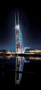 The proposed U2 Tower, which had been due to be built at Dublin Docks by 2011 but fell victim to the economic crash.