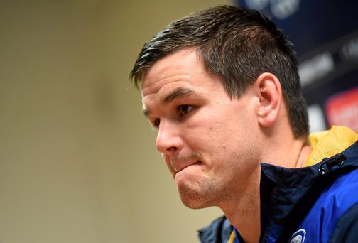 Johnny Sexton at yesterday's Leinster press conference