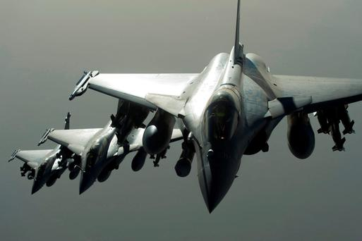 French fighter jets flying towards Syria in September, 2015, to take part in the US-led coalition's bombing raids on Isil