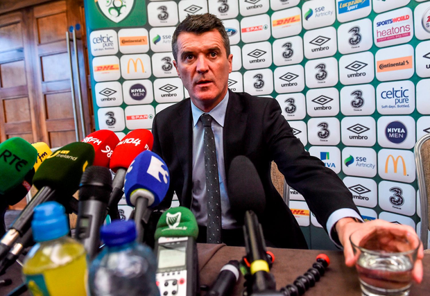 Keane speaking to reporters at the Castleknock Hotel & Country Club in Dublin yesterday