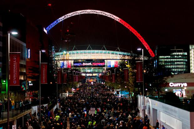 The words 'Liberte, Igalite, Fraternite' and the colours of the French flag adorn Wembley Stadium