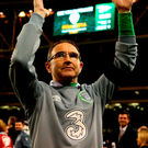 Martin O'Neill salutes the crowd at the Aviva Stadium