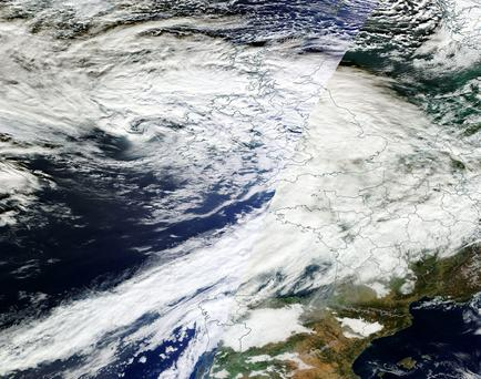 A satellite image shows Storm Barney bearing down on Ireland