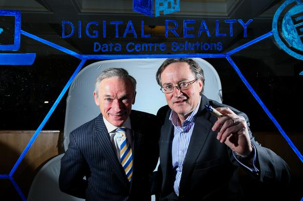 17/11/2015 Maxwells Dublin. Pictured is Jobs Minister Richard Bruton with Gary Keogh of Digital Realty.