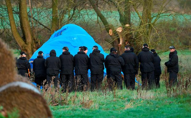 Police search a field off Ashby Road in Belton, Leicestershire, for Kayleigh Haywood who vanished after she was dropped off at Ibstock Community College, near her home in Measham, Leicestershire. Photo: Joe Giddens/PA Wire