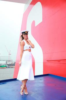 Vogue Williams on board the Stena Line Superfast X ship on the 20th anniversary of Stena Line's Dublin to Holyhead route. Photo: Conor Healy