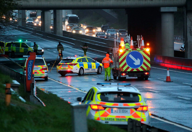 The scene of an incident on the M50 at J6 this evening Picture Colin Keegan, Collins Dublin.