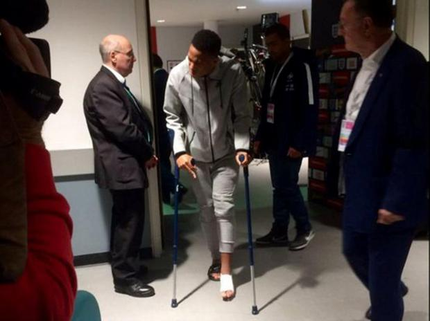 Anthony Martial left Wembley on crutches