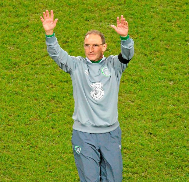 Martin O'Neill acknowledges the crowd at the Aviva Stadium