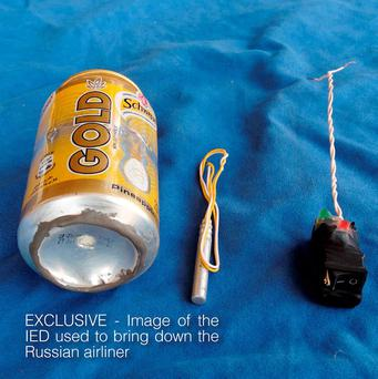 The image made available in Isil's English-language magazine 'Dabiq', which claims to show the bomb that was used to blow up a Russian passenger plane that crashed in Egypt