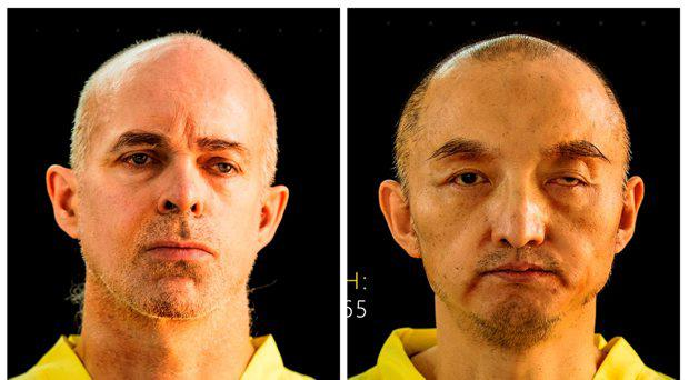 Islamic State group's online magazine Dabiq purports to show Ole Johan Grimsgaard-Ofstad, 48, from Oslo, Norway, left, and Fan Jinghui, 50, from Beijing, China