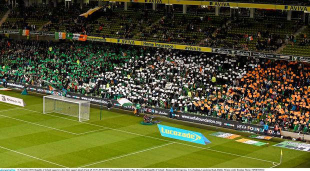 Ireland supporters show their support ahead of kick off. UEFA EURO 2016 Championship Qualifier, Play-off, 2nd Leg, Republic of Ireland v Bosnia and Herzegovina. Aviva Stadium, Lansdowne Road, Dublin. Picture credit: Brendan Moran / SPORTSFILE