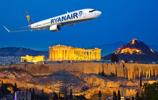 Composite Image: Ryanir has announced a new daily service from Dublin to Athens. Photo: Deposit