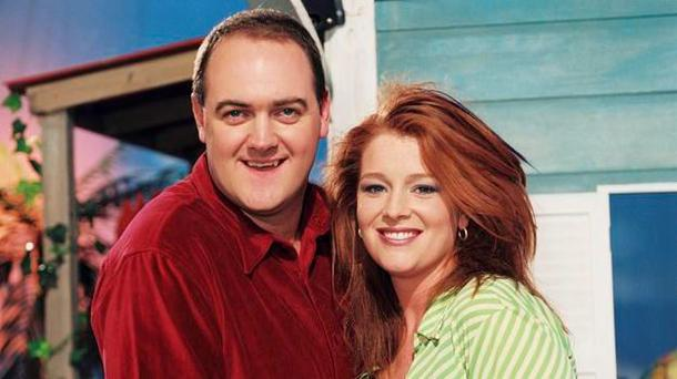 Dara O'Briain and Blathnaid Ni Chofaigh on Echo Island. PIC: RTE