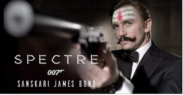 A photoshopped picture of Daniel Craig as James Bond, complete with 'hindu style' moustache Credit: Twitter/1sinto2s
