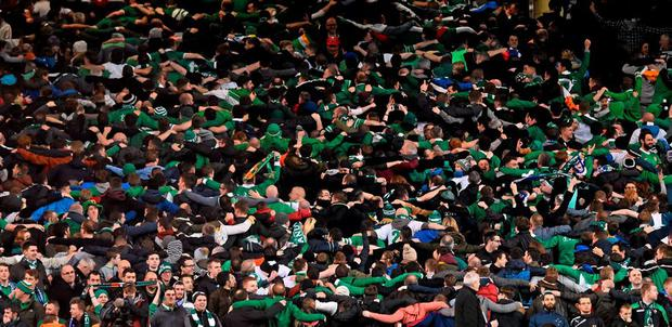 Republic of Ireland supporters in the final moments of the game on Monday. Picture credit: Ramsey Cardy / SPORTSFILE