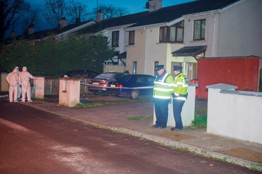 Gardai working on a crime scene where a man was seriously injured in Navan in Co Meath. Photo: Barry Cronin/www.barrycronin.com