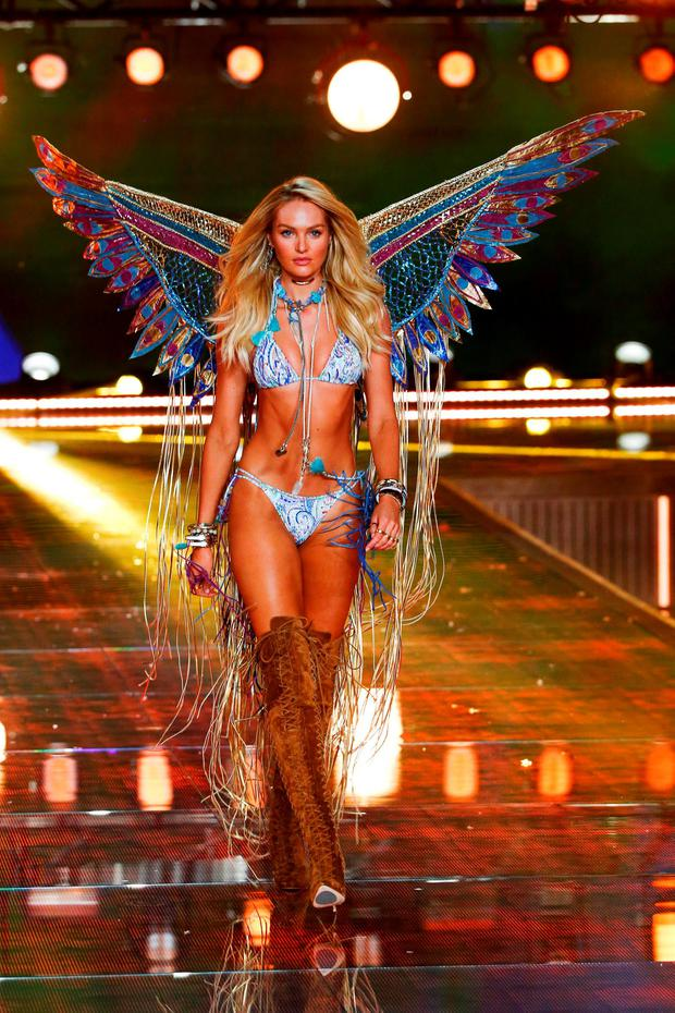 Model Candice Swanepoel works the look at the recent Victoria's Secret show.
