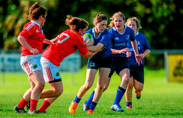 Katie Heffernan, Leinster, is tackled by Enya Breen, Munster. U18 Girls Development Interprovincial, Leinster U18 Girls v Munster. Westmanstown RFC, Westmanstown, Clonsilla, Co. Dublin