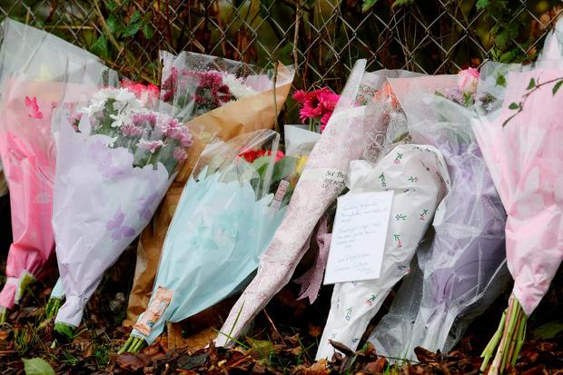 Flowers and tributes left outside Sence Valley Forest Park in Ibstock, Leicestershire where police found a body during the search for Kayleigh Haywood. Joe Giddens/PA Wire