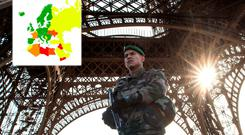 A French soldier stands guard at Eiffel Tower on November 15, 2015 in Paris, France. Photo: David Ramos/Getty Images