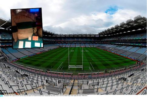 General view of Croke Park and (inset) Michael Hogan's Tipperary jersey, complete with two bullet holes