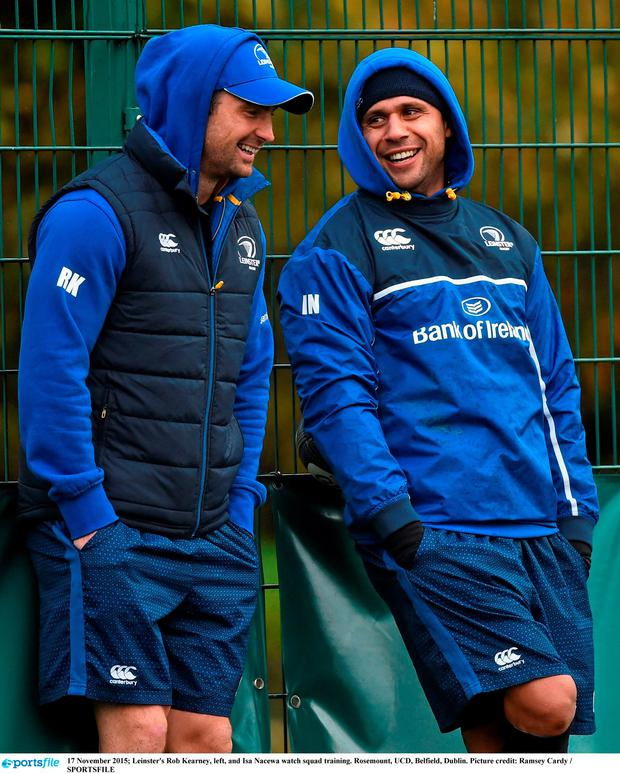 Leinster's Rob Kearney, left, and Isa Nacewa watch squad training