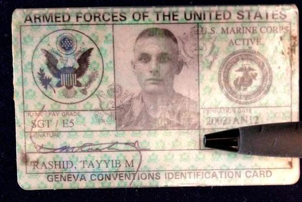 Mr Rashid tweeted the image of his marine ID following Trump's comments Credit: ProudAmericanMuslim