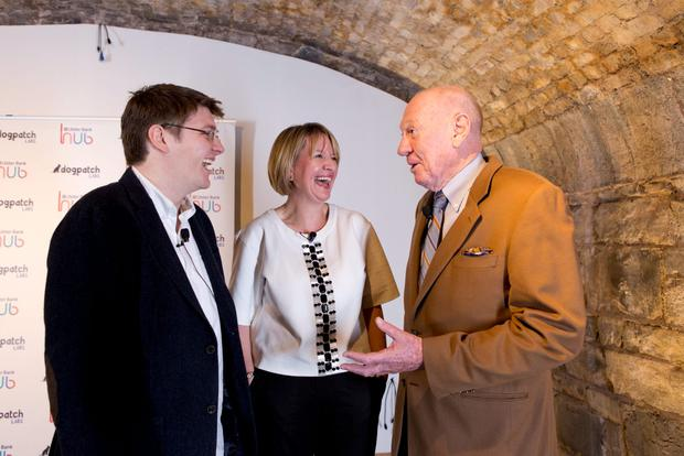 Patrick Walsh (Dogpatch Labs), Maeve McMahon (Ulster Bank) and Neville Isdell pictured at the launch of the Vaults