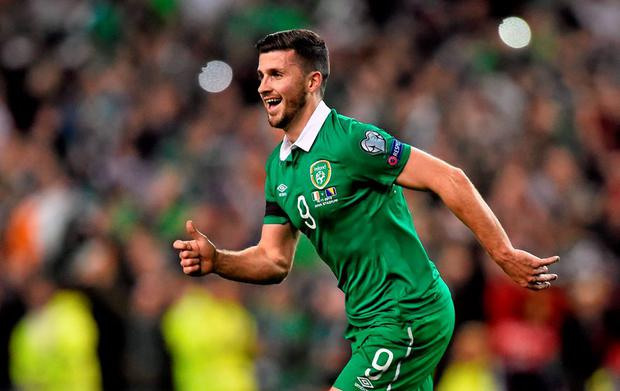 Republic of Ireland's Shane Long celebrates his side's victory over Bosnia at the final whistle on Monday. Picture credit: Ramsey Cardy / SPORTSFILE