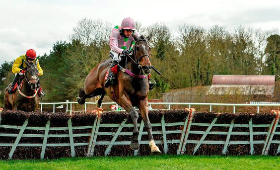 Douvan, here winning under Ruby Walsh Punchestown last April, will make his eagerly-awaited chasing debut at Navan tomorrow