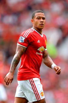 Depay (pictured) and teenager James Wilson are the only available contenders to lead the line for United at Vicarage Road