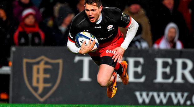 20 November 2015; Alex Goode, Saracens, scores his side's second try of the game. European Rugby Champions Cup, Pool 1, Round 2, Ulster v Saracens. Kingspan Stadium, Ravenhill Park, Belfast. Picture credit: Ramsey Cardy / SPORTSFILE
