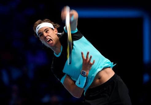 Rafael Nadal in action during his match against David Ferrer