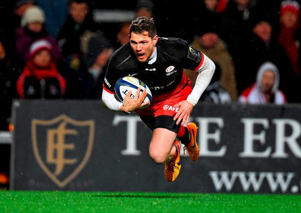 Saracens' Alex Goode scores his side's second try of the game at Ravenhill