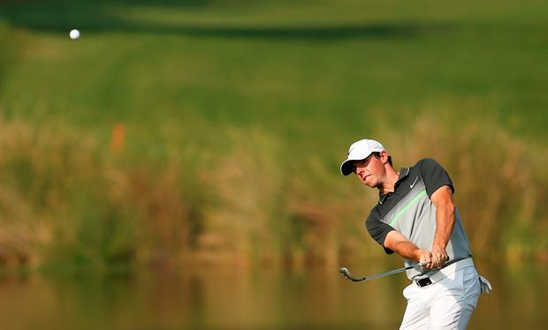 Rory McIlroy in action during the second round of the DP World Tour Championship at Jumeirah Golf Estates in Dubai, United Arab Emirates