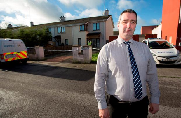 Cllr Wayne Forde, at the scene on Tailteann Road, Navan, where a 26-year-old man stabbed
