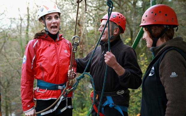 Catherine, Duchess of Cambridge prepares to abseil as she visits the Towers Residential Outdoor Education Centre on November 20, 2015 in Capel Curig