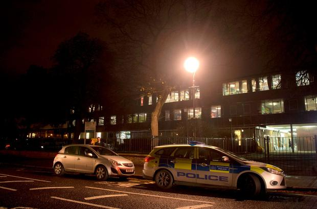 Police at Kingsdale Foundation School in Dulwich, south London where two 15-year-old boys have been stabbed