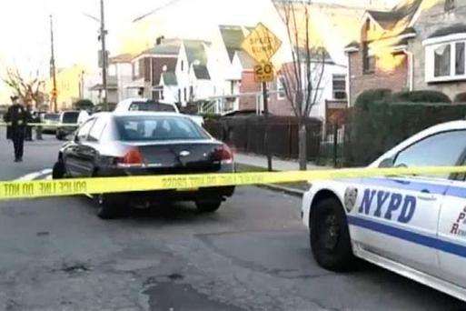 US police closed off the area around the house where the grisly killing is believed to have taken place Credit: NBC News
