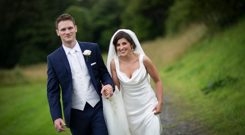 Annie and Geoff Claffey on their wedding day. Picture: Peter Rowen