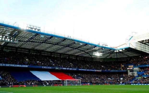 General view during a minutes silence in memory of the Paris attacks before the Chelsea v Norwich match