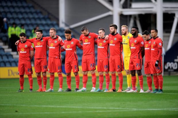 Football - Preston North End v Blackburn Rovers - Sky Bet Football League Championship - Deepdale - 21/11/15 Blackburn Rovers players during a minutes silence in memory of the victims in the Paris attacks before the match Action Images via Reuters / Paul Burrows Livepic EDITORIAL USE ONLY. No use with unauthorized audio, video, data, fixture lists, club/league logos or