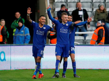 Leicester City's Jamie Vardy (centre) celebrates