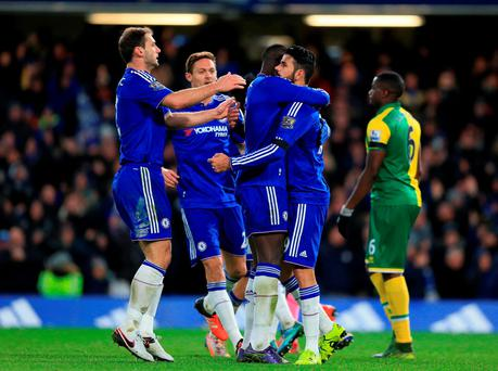 Chelsea's Diego Costa (right) celebrates scoring his side's first goal