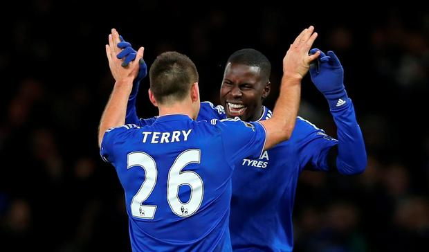 Chelsea's John Terry and Kurt Zouma celebrate at the end of the match