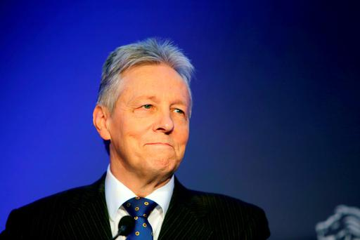 First Minister Peter Robinson makes his final speech as Democratic Unionist Party (DUP) leader to delegates at the party's conference outside Belfast. Photo: Stephen Kilkenny/PA Wire